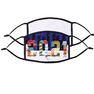 2 Sided Sublimation Mask White with Black Border & Straps
